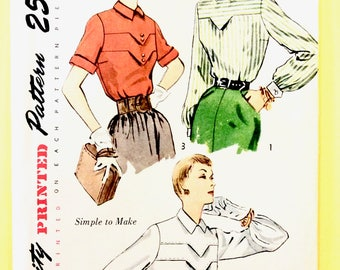 Uncut 1950s Blouse Pattern Simplicity 3400 A- Yoke and pointed tab, saddle stitching,  Vintage Sewing Pattern Bust 38