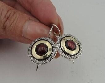 925 Garnet Earrings, Art Deco, vintage Earrings  Long 925 Silver &  9K Yellow Gold Garnet Earrings, round earrings, CZ Earrings  (ms 1334)