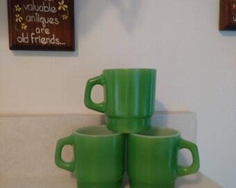 Anchor Hocking D Handle Green Fired Milk Glass Mugs