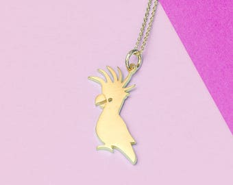 Cockatoo Necklace Parrot Pendant Summer Necklace Tropical Bird Pendant Sterling Silver Kids Teen Jewelry Rose Gold charm Birthday gift