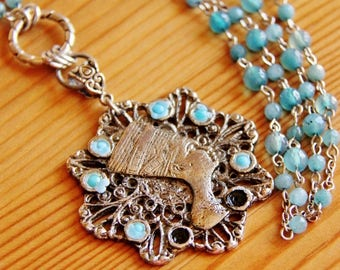 Reclaimed Ancient Egyptian pendant necklace, Nefertiti pendant, vintage necklace, upcycled recycled repurposed jewelry,  Aquamarine necklace