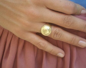 Womens Signet Ring, Gold Signet Ring, Gold Dome Ring, Pinky Ring Gold, Signet Ring Women, Metakwork Ring, Signet Ring 6,Gold Dome Ring,Greek