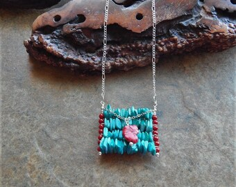 Turquoise and red structural necklace - southwestern style necklace - abacus - long boho necklace - stone and shell  layering necklace