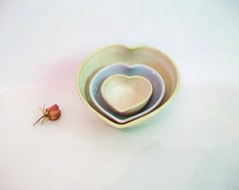 Nesting Heart Bowls - Set of 3, Handmade, Cream and Baby Blue -- 5 inch Diameter - Mothers Day/ All Occasion Gift  - Ready to Ship