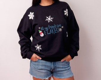Vintage Ugly Christmas Sweater - Vintage Snowman Sweater - All My Friends Are Flakes - Vtg Ugly Christmas - Size Medium Large - Gift For Her