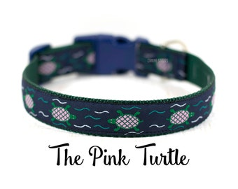 "Pink Turtle Dog Collar, Turtles Collar, Reptile Collar, Designer Dog Collar, Gift For Dogs, Buckle Collar, Martingale Collar, 1"" Wide"
