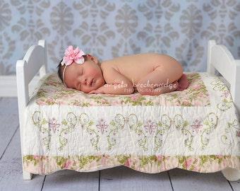 Small Pink Flower headband, newborn headbands, baby headbands, ivory Skinny Elastic, infant headbands, photography props