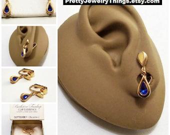 Avon Blue Sapphire Crystal Teardrop Clip On Earrings Gold Vintage 1977 Austrian September Birthstone Glass Stone Bezel Set Wide Band Edge
