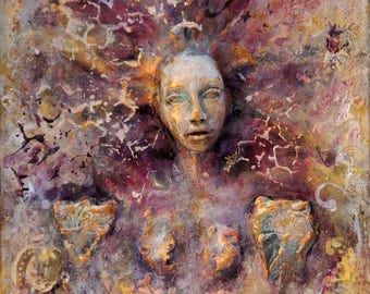Vina. Inspirational Wall Sculpture, by Fae Factory Fantasy Artist, Dr Franky Dolan (clay relief & canvas painting Mixed Media) {SEE VIDEO}
