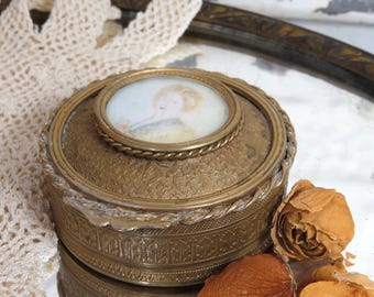 Antique French Portrait Brass Jewelry, Trinket Box, Hand Painted, Floral, Leaf Repousse Design