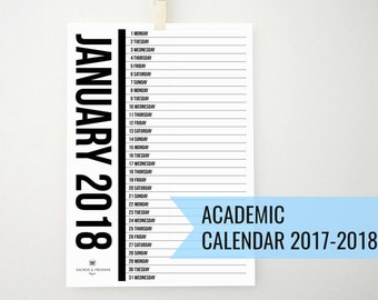 ACADEMIC 2018 Printable Monthly Vertical Calendar, Wall Calendar, College Calendar, 2018 Planner, Organizer, Notepad, Diary, School, PDF