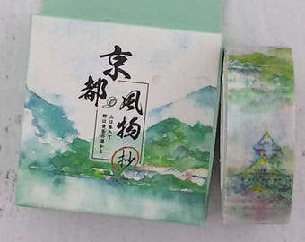 Landscape washi tape watercolor style Asian mountains masking washi planner journal craft swap mail package stationery - Lillibon
