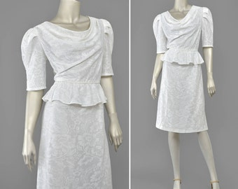Vintage 80s Dress • 1980s White Lace Dress • Puff Sleeve Peplum Dress • Draped Cowl Neck Dress • Ruffled Pencil Dress • 40s Style Knit Dress