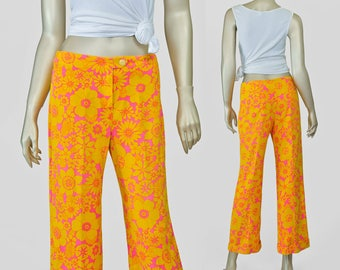 SALE - 60s Floral Pants • 1960s Hawaiian Print Mod Flare Pants • Tropical Pink Yellow Woven Cotton • Beach Surfer Low Rise Hip Huggers S/M