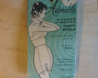 "Vintage 1950's Adorable Wonder Stretch Panty Girdle New in Original Packaging  Size 24"" to 32"""