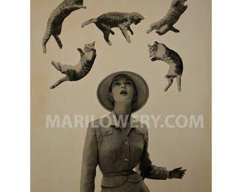 It's Raining Cats, Surreal Art 5 x 7 Inch Print, Whimsical Wall Art, Paper Collage Print, Retro Art Print, Animal Wall Decor, frighten