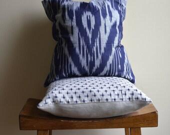 "Vintage Fabric, 14"" Square Pillow, Indigo"