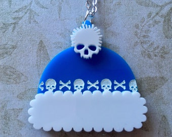 Laser Cut Acrylic Skull Bobble Hat Alternative Christmas 16 inch Necklace