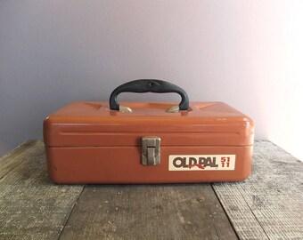 Vintage Old Pal Tackle box / Metal Box / Storage Box / Mauve Metal Box