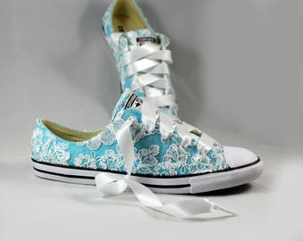 Lace Converses Blue --Bridal Converses Blue-- Blue Wedding Tennis shoes  - Wedding Converse-- Custom Converses