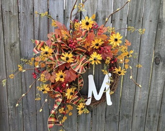 Fall Wreath, Front Door Wreath, Farmhouse Wreath, Black Eyed Susan Wreath, Fall Wreath, Halloween Monogram Wreath ,Thanksgiving Wreath