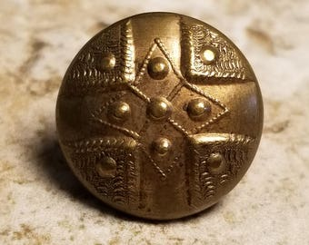 Terrific Antique Brass Waistcoat Button ~ Intricate Tetrad or Cross Design ~ just over 1/2 inch 13mm ~ Metal Sewing Button