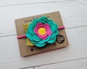 Felt Flower Headband,Teal Fuchsia Yellow,Nylon Headband Baby,Felt Rose Headband,Newborn Headband,Toddler Girls,Baby Headband