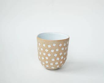 "hand-carved ceramic cup / tumbler / mug / raw clay with bright white glaze / square pattern // ""GROOVE"""