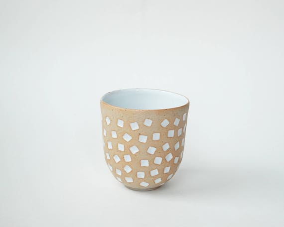 """hand-carved ceramic cup / tumbler / mug / raw clay with bright white glaze / square pattern // """"GROOVE"""""""