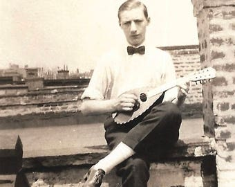"Vintage Snapshot ""Ain't We Got Fun"" Ukulele Musician Handsome Young Man Rooftop Found Vernacular Photo"