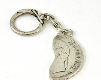 Vintage 1950s Sterling and Coin Silver Key Chain- 1/2 1868 5 Francs Napoleon III Coin - Made in France