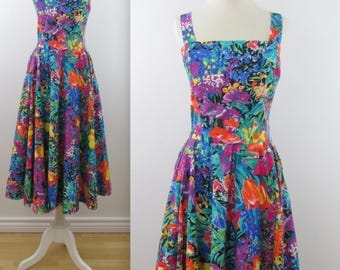 1980s does 50s Circle Skirt Floral Summer Dress - Vintage 80s Bright Sundress in Small by Aimee