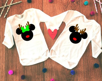 Twin Christmas Outfits,Twin Baby Clothes,Christmas Twin Outfit,Minnie Mickey Twin Onesie,Baby Disney Twin Set,Disney Twin Gifts, Twin Baby