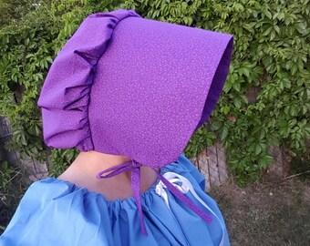 Purple Women's Pioneer Trek Sun Bonnet, Pilgrim Bonnet, Sunbonnet