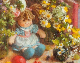 Original oil painting on canvas art doll still life fine art flowers wildflower art  colorful 11x14 rustic realistic impressionist painting