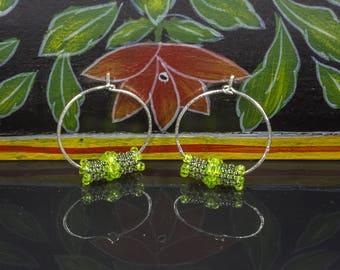 Sterling Silver Hoop Earrings, Green Bead Hoops, Dangle Earrings, Silver Hoop Earrings, Hammered Silver Hoops, Ethnic Earrings, Woven Hoops