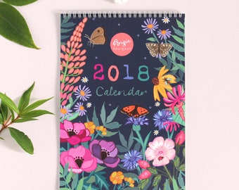 2018 Wall Calendar - 2018 Family Calendar - Planner - A4 sized - 297mm x 210mm - gift for her - gift for mum