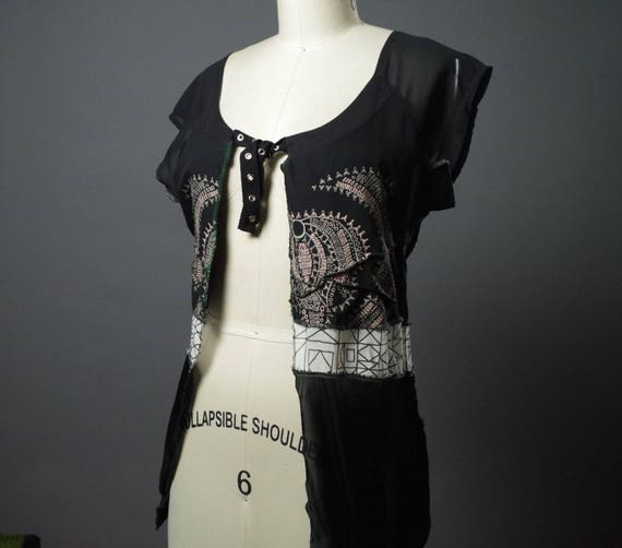 Geometric Black Top - Women's Spring Top - Eco-friendly Clothing - Up-cycled Clothing - Black Tops