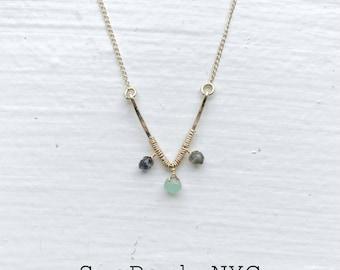 Labradorite Chrysoprase Gemstone Gold Necklace/Bridesmaid Necklace/Goldfilled Chain/Goldfilled Necklace/Gold Layer Necklace/Thin Gold Chain