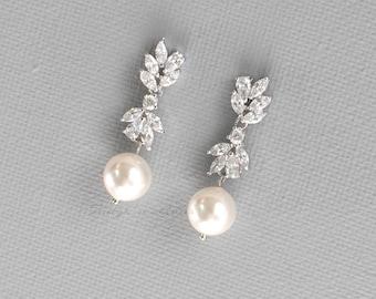 Wedding Earrings, Bridal Earrings, Pearl Drop Earrings, Crystal Bridal Earrings, Rose Gold Earrings, pearl earrings, tes