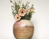 Hold for Melissa | Large Rustic Pottery Vase in Speckled Stoneware with Lime Green Sherbet and Creamy Rose Pink Blush // Mother's Day Gift