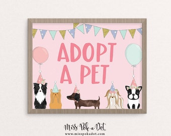 Adopt A Pet Sign, Printable, Dog Birthday Party, Puppy Adoption, Girl, Vet, Instant Download, Digital, Decor