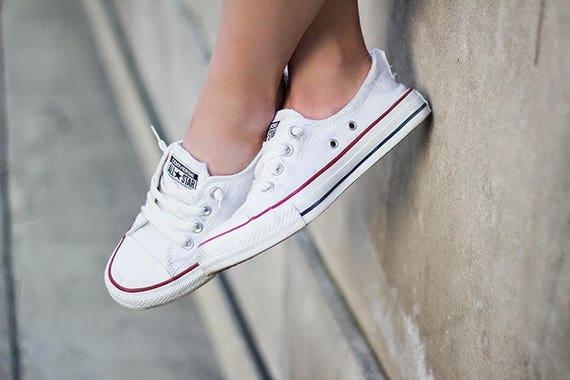 Custom Converse White Shoreline Slip on Ladies Kicks w/ Swarovski Crystal Rhinestone Jewels Bling Chuck Taylor All Star Sneakers Shoes