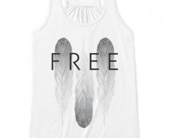 Free Feather Tank Top, Scripture Tank, Faith, Women Modern Workout Apparel, Illustrated Faith Christian T-shirt, Fitness Gift for Her