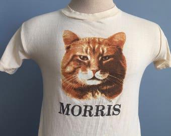 80s Vintage Morris 9 Lives Cat Food T-Shirt - XS X-SMALL