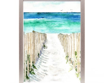 Seaside Beach art,  30A Florida, rustic wall art, beach landscape watercolor painting, vacation art,  home or office decor, gift under 25