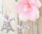 Eiffel Tower Paris Cupcake Toppers with Ooh la la flags / 1 Dozen Parisian themed Cupcake picks perfect for a French or Chanel themed party