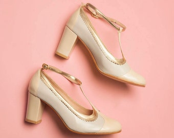 Ona Wedding (hight heel) Leather vintage style t-strap woman shoes. Gold and ivory leather. Dancing, Comfortable shoe