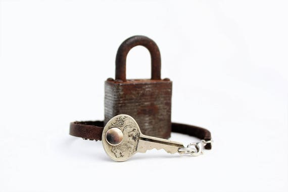 Antique Master Lock LION Bracelet - Tiny Lion Version :) - Handmade - Repurposed - Upcycled - Leather - Milwaukee - Brass Keys - Padlock