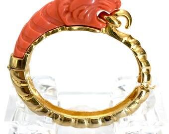 Kenneth Lane Tiger Hinged Bangle , Coral Resin Tiger, Polished Gold Tone, 1970s Hard to Find, Vintage Figural, Book Piece, Designer Signed